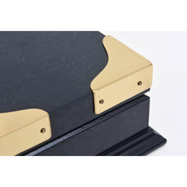 Italian Vintage Gucci Blue Lacquered and Brass Hinged Box For Sale In Miami - Image 6 of 10