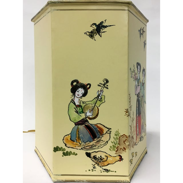 Asian English Export Hexagon Chinoiserie Tea Canister Lamp For Sale - Image 3 of 5
