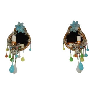 French Multicolored Opaline Murano Glass Mirrored Sconces For Sale