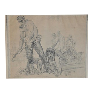 "WPA Era Sketch ""Railroad Workers"" by T.S. c.1930s For Sale"