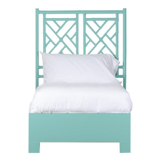 Chippendale Bed Twin Extra Long - Turquoise For Sale