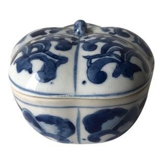 Vintage Chinoiserie Blue & White Melon Form Box For Sale