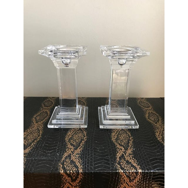 Art Deco Crystal Decor Pillar Candle Holders - A Pair For Sale - Image 5 of 5