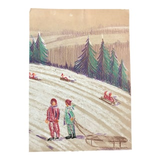 1940s Sledding Snow Scene Evelyn Underwood Drawing For Sale