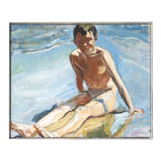 Boy at the Beach, Oil Painting