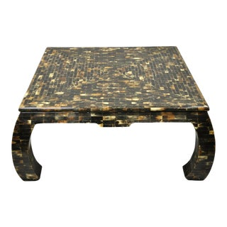 Enrique Garcel Faux Tortoise Shell Tessellated Horn Ming Style Coffee Table For Sale