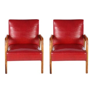Lounge Leather Chairs - A Pair For Sale