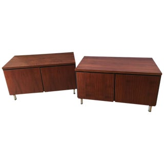 Mid-Century Modern Rosewood Chrome Feet Chests - a Pair