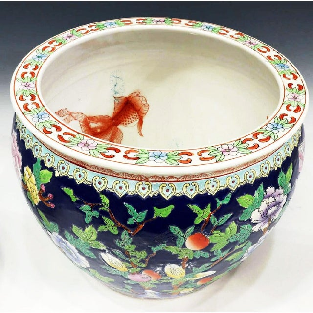 Ceramic Chinoiserie Blue Porcelain Planter Pot With Koi Fish Interior Motif For Sale - Image 7 of 12