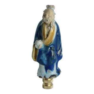 Chinese Figural Lamp Finial on Brass Hardware For Sale