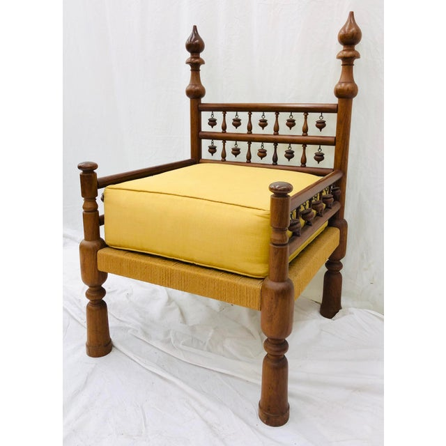 Anglo-Indian Vintage Indian Arm Chair For Sale - Image 3 of 13