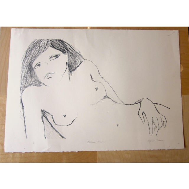 "1970s Vintage Suzanne Peters ""Reclining Woman"" Signed Nude Woman Figural Study Boho Chic Stone Lithograph For Sale - Image 13 of 13"