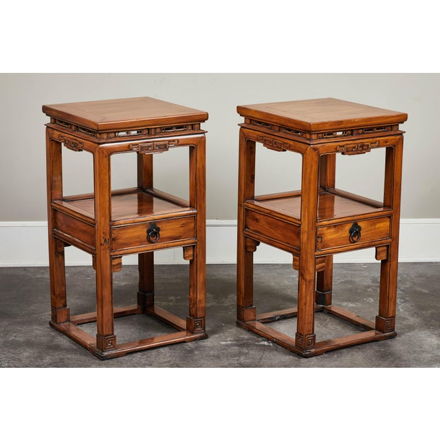 18th Century Chinese Cedar Tea Tables - a Pair For Sale - Image 9 of 10