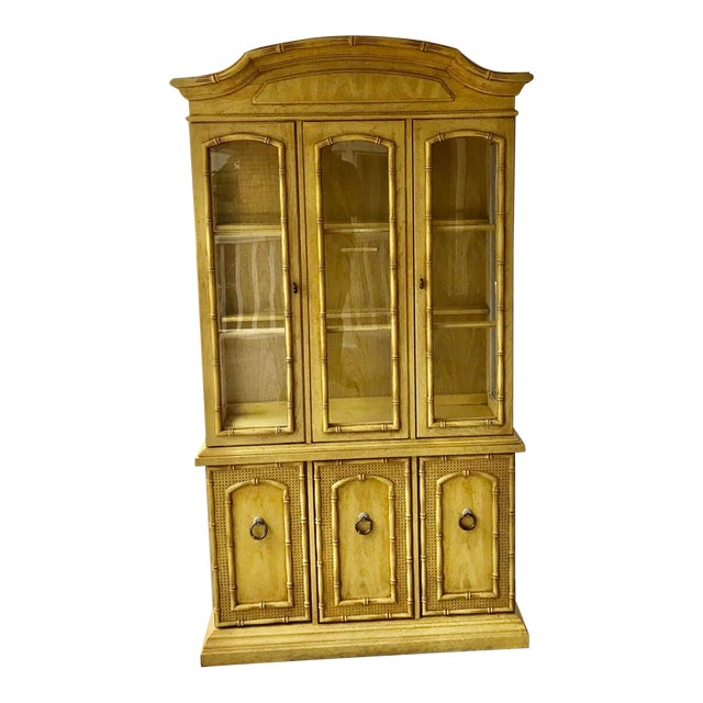 1970s Vintage Thomasville Faux Bamboo China Cabinet For Sale