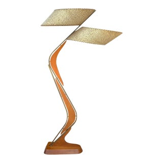 "Mid-Century Modern Atomic Boomerang ""Z"" Teak Floor Lamp by Majestic For Sale"