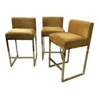 3 Brass Bar and Counter Stools For Sale