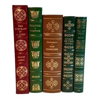 20th Century Traditional Leather Bound Designer Literature Books - Set of 5
