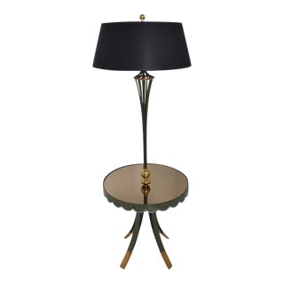 Arturo Pani Scalloped Floor Lamp With Table 1940's For Sale