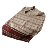 Image of Antique Folk Art Hand-Woven Red & Black Stripes Textile Pillow Cover / Grain Sack For Sale