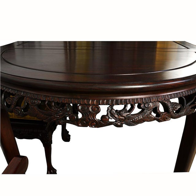Ceramic 20th Century Chinese Carved Rosewood Dragon Dining Set For Sale - Image 7 of 13