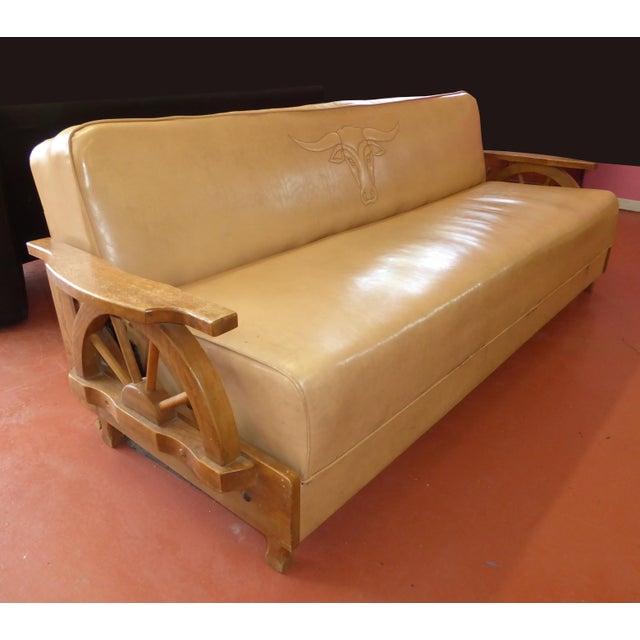 Vintage Cowboy Wagon Wheel Sleeper Sofa Rocking Chair What A Find
