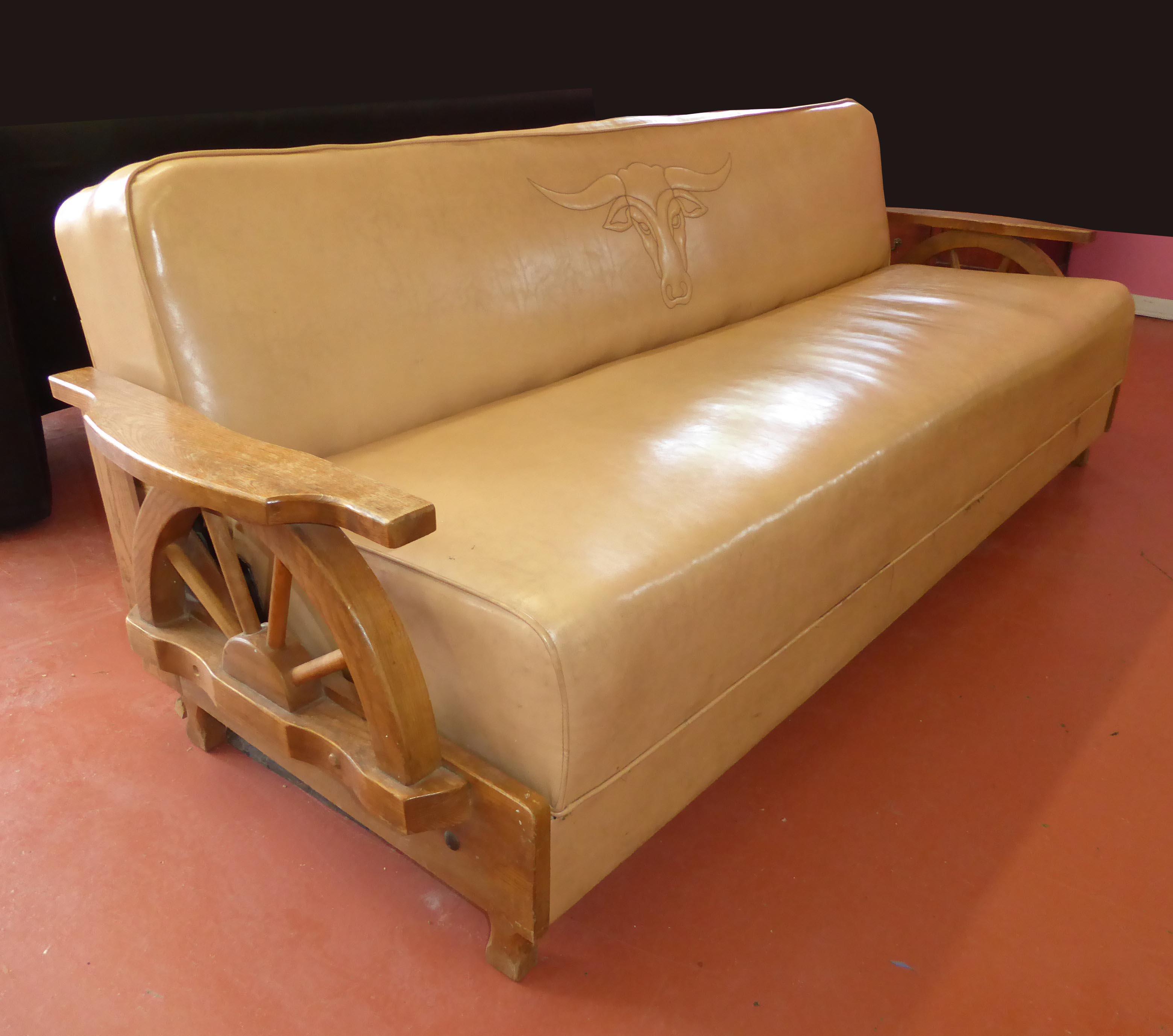Marvelous Vintage Cowboy Wagon Wheel Sleeper Sofa U0026 Rocking Chair WHAT A FIND!