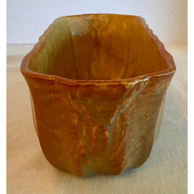 Vintage Gold and Orange Two Tone Ribbed Planter For Sale In Dallas - Image 6 of 8