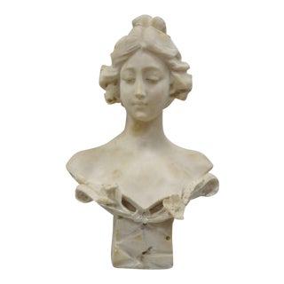 "Italian Female Maiden Hand Carved 19"" Marble Bust Statue Signed A. Cipriani For Sale"