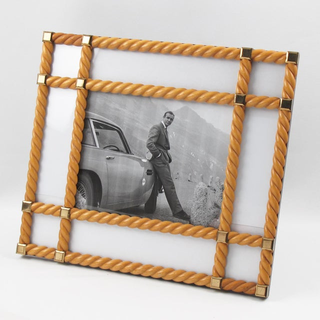 Gold Designer Noel Bc Italy Large Blond Carved Wood Picture Photo Frame For Sale - Image 8 of 8
