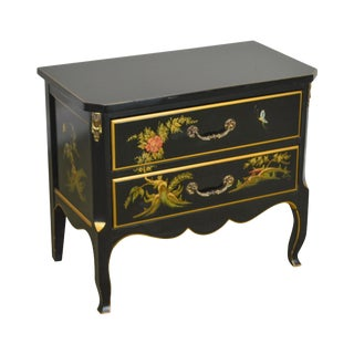 Chinoiserie Black Lacquer Painted Vintage Louis XV Style Nightstand For Sale