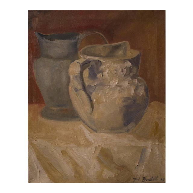 """Two Water Vessels"" Oil Painting - Image 1 of 3"