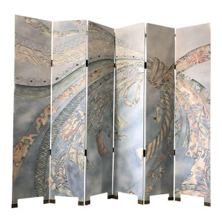 Wooden Carved and Painted 6-Panel Room Divider For Sale
