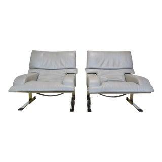 1980s Post Modern Giovanni Offredi Onda for Saporiti Italia Wave Lounge Chairs - Pair For Sale