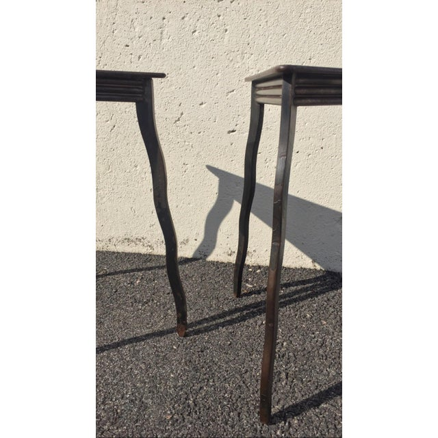 Industrial Postmodern Will Stone Handmade Steel Side Tables - a Pair For Sale - Image 3 of 10