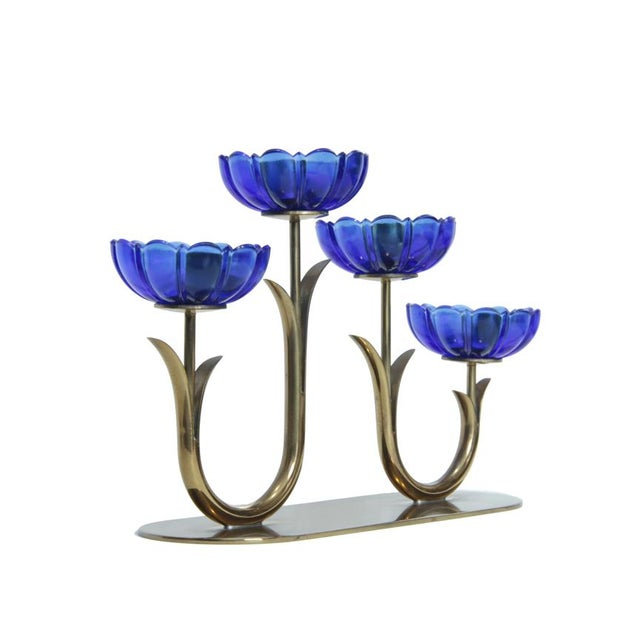 Mid-Century Modern 1950s Mid-Century Brass & Glass Candelabra by Gunnar Ander For Sale - Image 3 of 7