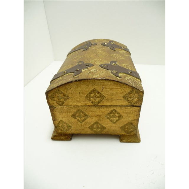 Vintage Wood Gold Gilt Florentine Dome Top Trunk Keepsake Box Italy - Image 5 of 7