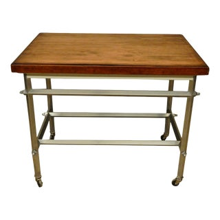 Mid-Century Modern French Commercial Kitchen Work Table For Sale