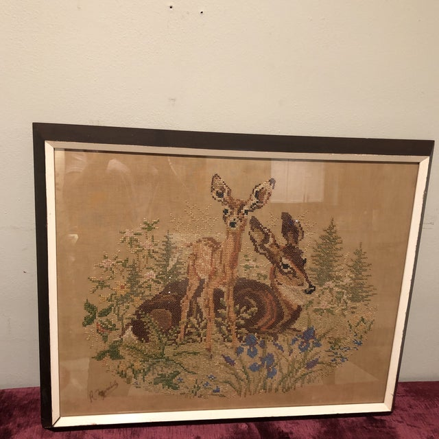 Boho Chic Vintage Deer With Fawn Cross Stitch Framed Textile Art For Sale - Image 3 of 12