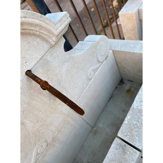 Hand-Carved Limestone Wall Fountain For Sale - Image 4 of 5
