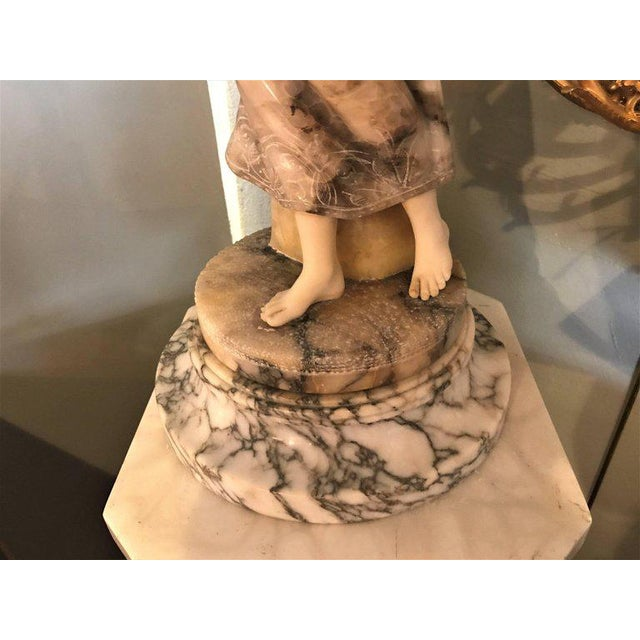 Mid 20th Century Fine Neoclassical Alabaster Figure of a Water Maiden Lighted on a Pedestal For Sale - Image 5 of 11