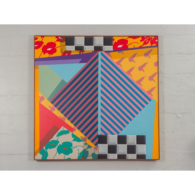 Triptych of large-scale 20th century paintings, highly patterned and evocative of Memphis-style 1980s design. Each...