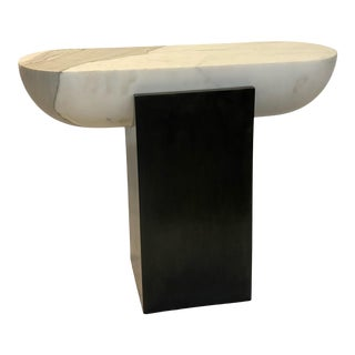 Pill Side Table - Marble & Blackened Steel For Sale