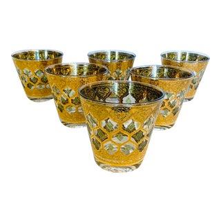 Vintage Culver Valencia Green & Gold Leaf Flared Lowball Glasses - Set of 6 For Sale