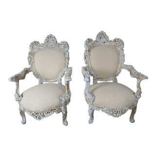 19th Century Painted and Parcel-Gilt French Armchairs, Pair For Sale