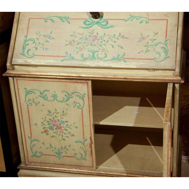 Green Venetian-Style Painted Secretary For Sale - Image 8 of 9