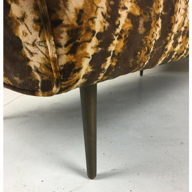 Brass Sofa or Bench With Brass Legs by Edward Wormley for Dunbar-Larsen Velvet For Sale - Image 7 of 8