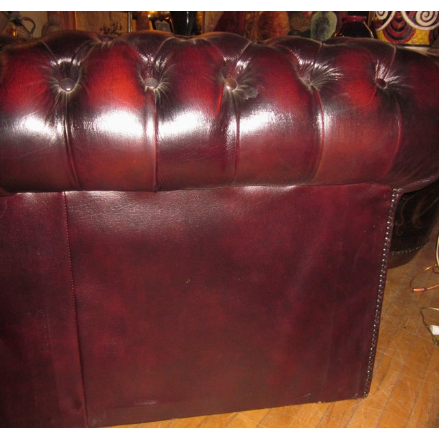 Vintage 20th Century Oxblood Burgundy Classic Tufted English Chesterfield Sofa For Sale - Image 10 of 11