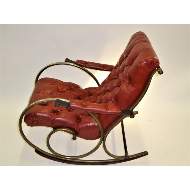 1970s Modern Woodard Sculptural Tufted Leatherette Rocking Chair For Sale - Image 10 of 12