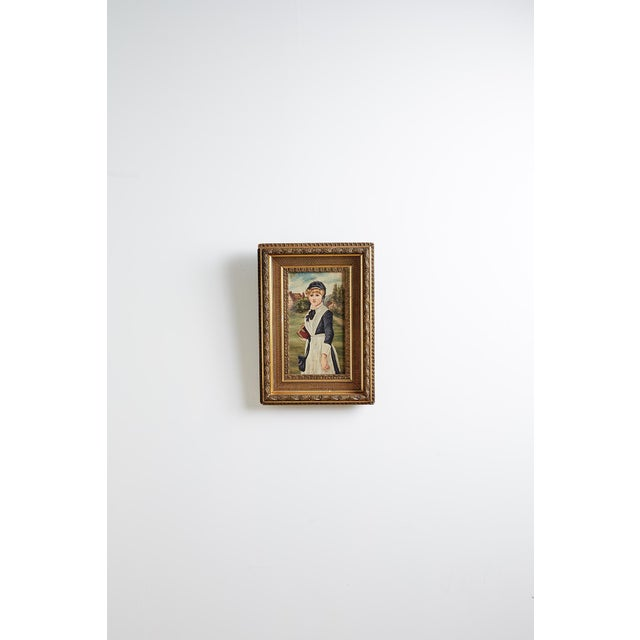 19th Century Folk Art Painting of a Young Girl For Sale - Image 11 of 13
