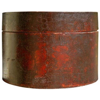 Antique Chinese Large Painted Round Hat Box For Sale
